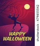 halloween card with a werewolf   Shutterstock .eps vector #479855542
