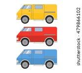 a set of vector flat cargo vans ... | Shutterstock .eps vector #479866102
