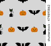 halloween seamless pattern with ... | Shutterstock .eps vector #479895862