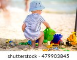 boy on the beach playing in the ... | Shutterstock . vector #479903845