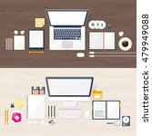 workplace  table with documents ... | Shutterstock . vector #479949088