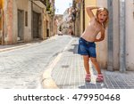 girl in medieval city of... | Shutterstock . vector #479950468