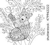 cute baby bear on tree. black... | Shutterstock .eps vector #479962222