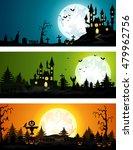 set of three halloween banners  | Shutterstock .eps vector #479962756