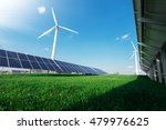 windmill and solar panels on... | Shutterstock . vector #479976625