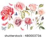 watercolor set with different... | Shutterstock . vector #480003736