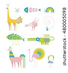 imaginary animals living in the ... | Shutterstock .eps vector #480005098