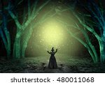 Magical Witch Casting A Magic...