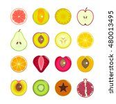 halves of fruit set. can be... | Shutterstock . vector #480013495