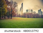 ny central park at rainy day | Shutterstock . vector #480013792