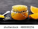 orange body scrub with sugar...   Shutterstock . vector #480030256