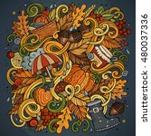 cartoon cute doodles hand drawn ... | Shutterstock .eps vector #480037336