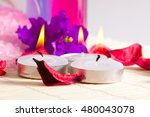 spa still life   candles and... | Shutterstock . vector #480043078