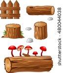 timber and stump cartoon | Shutterstock .eps vector #480044038