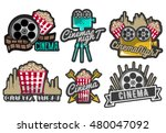 vector set of cinema labels and ... | Shutterstock .eps vector #480047092