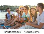 group of friends listening to... | Shutterstock . vector #480063598
