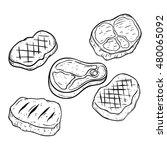 doodle or hand drawing steak...   Shutterstock .eps vector #480065092