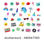 pop art fashion chic patches ... | Shutterstock .eps vector #480067585