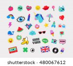 pop art fashion chic patches ... | Shutterstock .eps vector #480067612