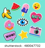 pop art fashion chic patches ... | Shutterstock .eps vector #480067732