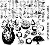 fruit set of black sketch. part ... | Shutterstock .eps vector #48006856