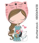 cute girl and little dog vector ... | Shutterstock .eps vector #480069658