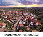 Aerial View Of A Small Town...