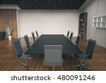 side view of conference desk in ... | Shutterstock . vector #480091246