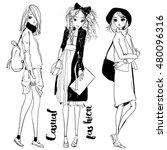 cute fashion cartoon girls in... | Shutterstock .eps vector #480096316