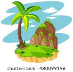 scene with coconut tree on... | Shutterstock .eps vector #480099196