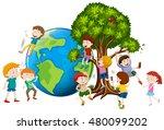 children climbing up tree... | Shutterstock .eps vector #480099202