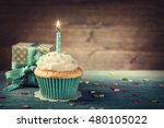 cupcake with birthday candle... | Shutterstock . vector #480105022