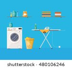 laundry room with washing... | Shutterstock .eps vector #480106246