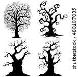 scary tree silhouettes on the... | Shutterstock .eps vector #480107035