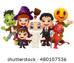 halloween kids costumes. witch  ... | Shutterstock .eps vector #480107536