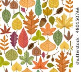 autumn leaves vector seamless... | Shutterstock .eps vector #480150766