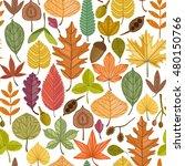 autumn leaves vector seamless... | Shutterstock .eps vector #480150766