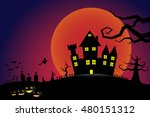 halloween pumpkins and a flying ... | Shutterstock .eps vector #480151312