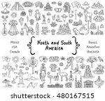 vector set with hand drawn... | Shutterstock .eps vector #480167515