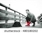 fit runner sportsman holding... | Shutterstock . vector #480180202