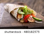 classic tortilla wrap with... | Shutterstock . vector #480182575