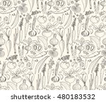 hand drawn seamless doodles... | Shutterstock . vector #480183532