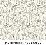 hand drawn seamless doodles... | Shutterstock . vector #480183532