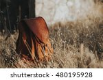 Leather Backpack On The Pasture.