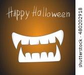 halloween symbol  vampire fangs. | Shutterstock .eps vector #480202918