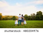 the concept of a happy family.... | Shutterstock . vector #480204976