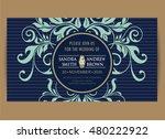 navy blue wedding invitation... | Shutterstock .eps vector #480222922