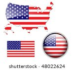 north american usa flag  map... | Shutterstock .eps vector #48022624