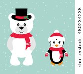 Cartoon Winter Bear And Penguin ...