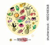 set of hand drawn fruits and... | Shutterstock .eps vector #480248368